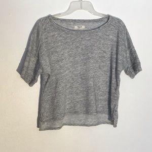 Madewell Short Sleeve Cropped Sweatshirt Gray XS
